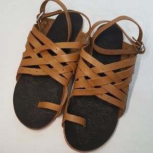 Free People brown leather toe sandal wrap ankle